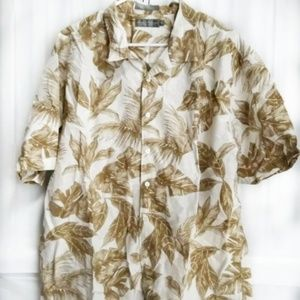 Cremieux Mens XL Hawaiian Brown Floral Shirt